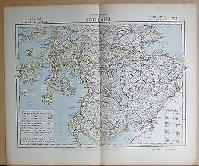 1883  Antique Map - Scotland, Central And South, Statistical Map