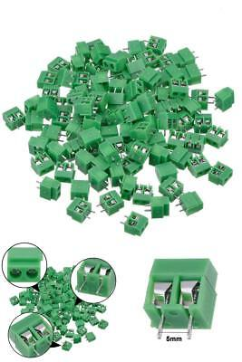 PCB Circuit Board Connector Pins 2 Pin Terminal Connectors Mount Screw 100Pc Lot