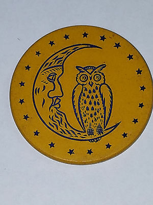 Vintage Clay Poker Chip Owl on Crescent Moon Yellow Impressed