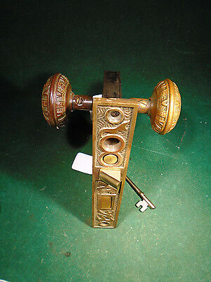 VINTAGE M & W 'ARABIC' ENTRY MORTISE LOCK w/DOUBLE KEYS (9027)