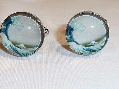 SILVER PLATED CUFFLINKS - THE WAVE by HOKUSAI - GIFT BAG - FREE UK P&P.....W1626