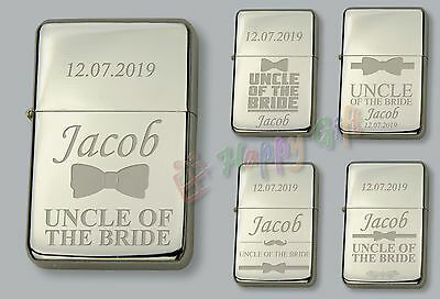 UNCLE OF THE BRIDE  Personalised  Petrol Lighter  FREE Engraved WEDDING GIFT