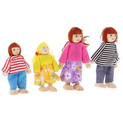 Dolls House Family Set 4 Pieces Wooden Dolls People Kids Pretend Play Toys