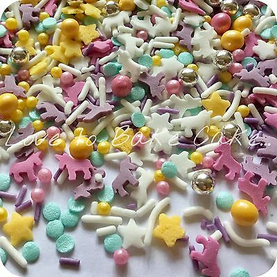 PASTEL RAINBOW UNICORN Edible Sugar Glimmer Cupcake Sprinkles Cake Decorationi