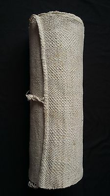rare old heavy handwoven German linen bale 11.8 yards upholstery