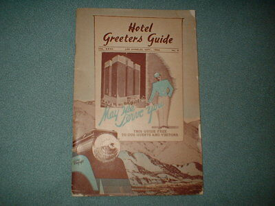 LOS ANGELES SEPT 1946 HOTEL GREETERS GUIDE VOL. XXVII 50 Pages