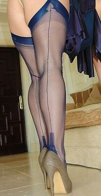 NEW PERFECT NAVY GIO FF Fully Fashioned Cuban Heel Seamed Stockings 10.5 Large