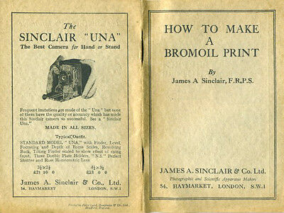 Original Insructional Booklet on How to Make Bromoil Prints by Sinclair