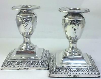 "Pair of Victorian hallmarked Sterling Silver 4 ¼ "" (10.8cm) Candlesticks – 1898"