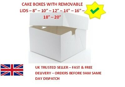 5 Pack White Cake Boxes 6 Inches Deep Box & Lid carrier for Wedding, Birthday, X
