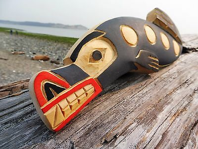 Northwest Coast First Nations Native wooden Art carving: SEA WOLF, unusual