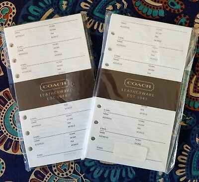 "100 Coach Leatherware address book refill pages, 3.75"" x 6.75"""