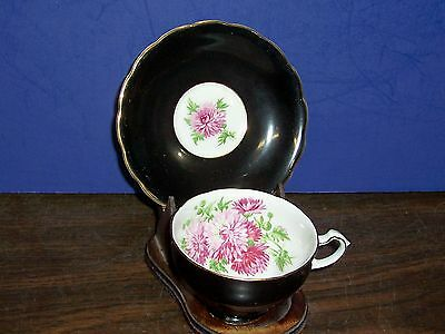 Floral Bone China Staffordshire England Tea Cup And Saucer Black With Flowers