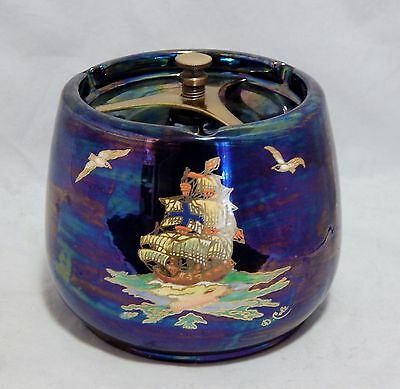 Crown Devon Luster Ware Covered Biscuit Cookie Jar Ships Pattern