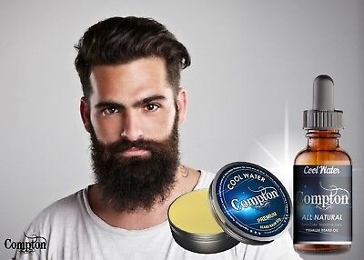 Compton Premium Beard Balm & Oil Set (Cool Water) 50G All Natural Melbourne Made