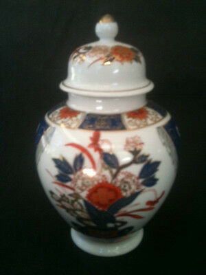 VINTAGE GINGER JAR BLUE WHITE RED GOLD CERAMIC 16cm TALL RED CHARACTER MARK