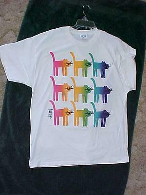 Colorful Cat Tshirt Goes With Anything!  Gr8 Mother's Day Gift! Extra Large New