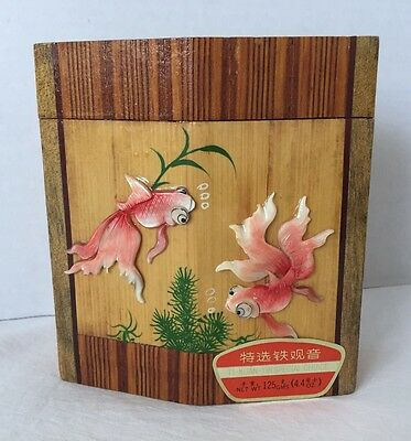 Vintage TI-KUAN-YIN Special Choice Tea Foil Lined Wood Box w/Lid & Koi