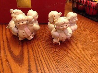 Lenox SNOWLIGHT SKATING BY CANDLE LIGHT Candlestick Holders Christmas Orig Box