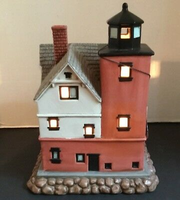 "Lefton 1895 Round Island Michigan #153 Lighthouse Lamp 1996 #10969 9.5"" x 7.5"""