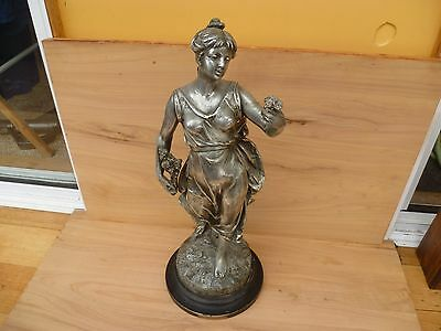 Antique Old Large Size Pewetr Figure Of A Lady On Stand 'statue' (F598)