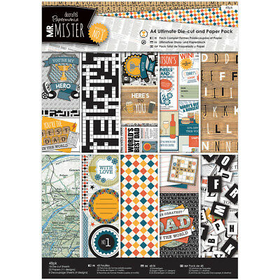 Papermania Ultimate A4 Die-Cuts & Paper Pack 48/Pkg-Mr. Mister PM160197