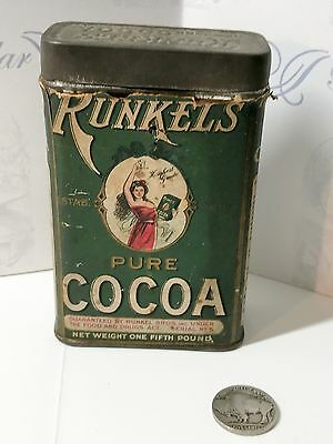 Antique Runkel's Cocoa Tin Chocolate Advertising Vintage Antique Can Runkels