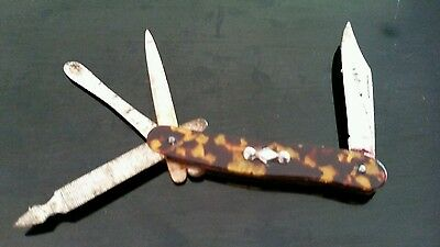 RARE VINTAGE C1900s PATTERNED CELLULOID MINIATURE LADIES  POCKET KNIFE