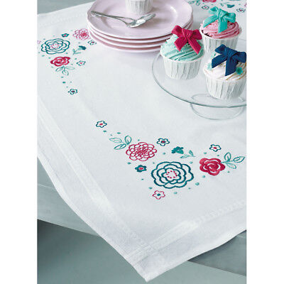 """Modern Flowers Tablecloth Stamped Embroidery Kit-32""""X32"""" V0154544"""