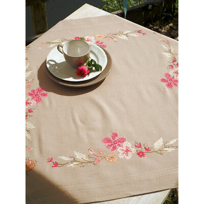 """Pink Flowers Tablecloth Stamped Cross Stitch Kit-32""""X32"""" V0154963"""