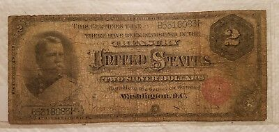1886 $2 Dollar Silver Certificate Large Size Currency