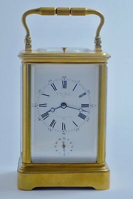 1870s LeROY & FILS HALF HOUR SONNERIE QUATER REPEATER ALARM 8 DAY CARRIAGE CLOCK
