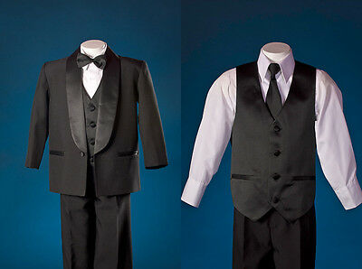 NEW BOY FORMAL 5 Pcs BLACK TUXEDO SET Shawl Collar Sz L/5/12/14,Wedding/Recital