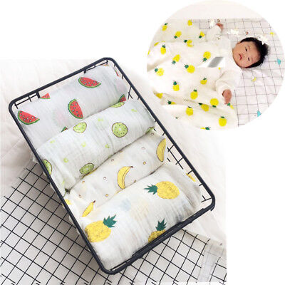 Baby blanket wrap towel muslin cotton swaddle colorful fruit breathable