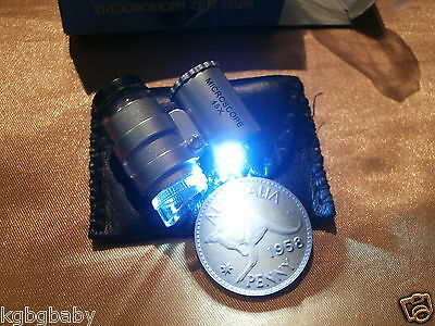 COIN MICROSCOPE (x 45 MAGNIFICATION) - WITH WHITE LED LIGHT (Read description)