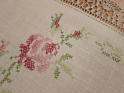 Vintage Centrepiece Doily Rose & Buds Hand Embroidered Linen