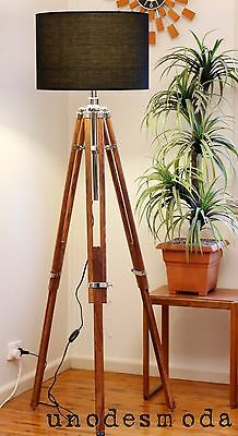 HAND MADE Chrome Tripod FLOOR Shade LAMP vintage light Decor SHADE NOT INCLUDED