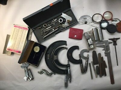 Machinist Lot Starrett Dial Indicator Micrometer Hole Gauges Extras Misc S50