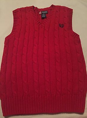 Chaps Ralph Lauren Boys Red Sweater Vest Size Small 8 Red