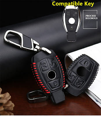Car Key Fob Cover For Mercedes Benz Cowhide Genuine Leather Manual Case+Keychain