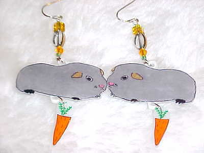 GUINEA PIG Pierced Earrings - Handmade Unique Animal Jewelry - Gray Cavy Cavies