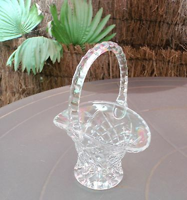 Clear Glass  Basket With Handle - Diamond Pattern