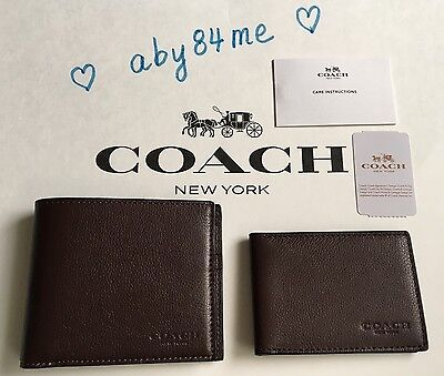 fe7634e5d89c  NWT  Coach Men s Compact ID Wallet in Sport Calf Leather F74991 Mahogany