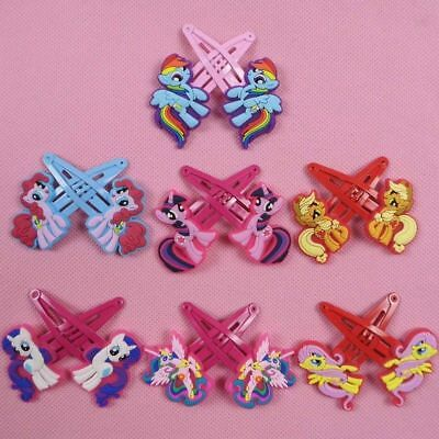 New 1 Pair My Little Pony Kids Girl Hair Clips Hair Pins Hair Accessory Pink