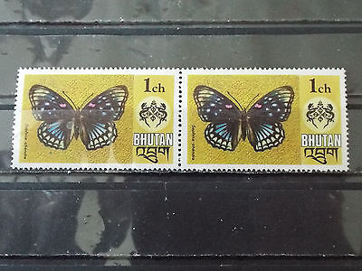 Paire 2 timbres neuf Bhoutan : Papillon Sephisa chandra