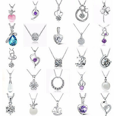 Fashion Women Jewelry 925 Sterling Silver Charm Necklace Pendant Clavicle Chains