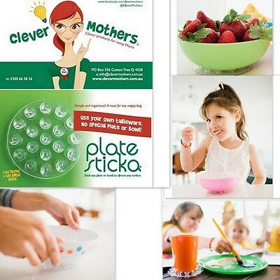 New Plate Sticka Suction Cup Stick Plate & Bowl to smooth surfaces Baby Toddler