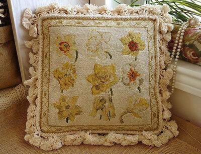 "12"" Stunning Handmade Chic Shabby French Country Beautiful Needlepoint Pillow"