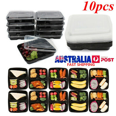 10Pcs Microwave Safe Plastic Box Meal Prep Food Storage Container & Lid Takeaway