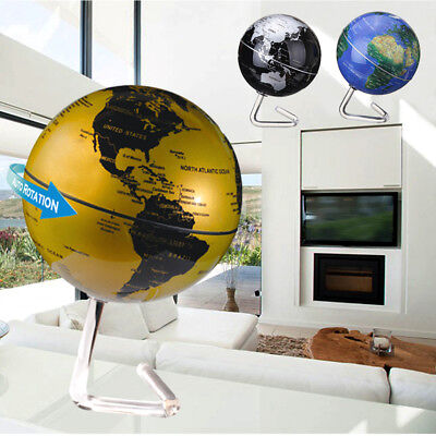 4'' 360° Dia Automatic Rotating HD World Map Globe Battery Powered Home Office